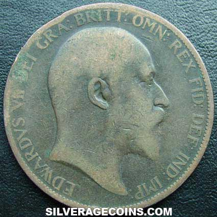1903 Edward VII British Bronze Penny