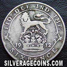 1912 George V British Silver Sixpence