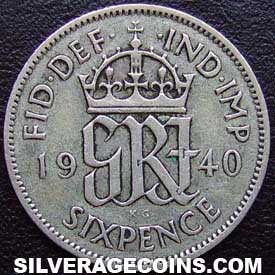 1940 George VI British Silver Sixpence