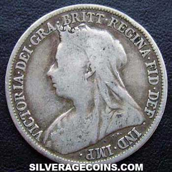 "1896 Victoria British Silver ""Widow Head"" Shilling"