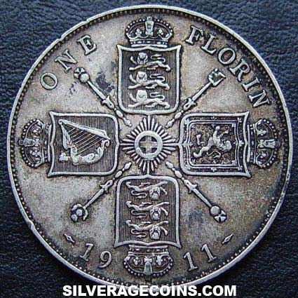 1911-1A George V British Silver Florin