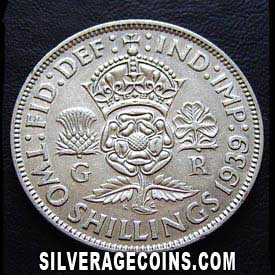 1939 George VI British Silver 2 Shillings