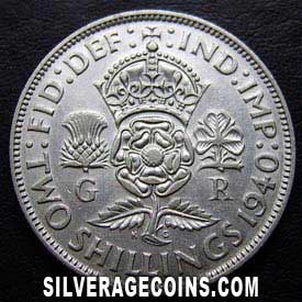 1940 George VI British Silver 2 Shillings