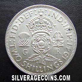 1941 George VI British Silver 2 Shillings