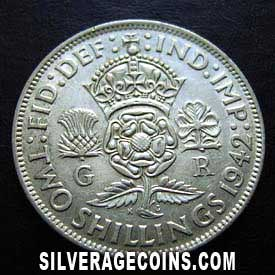 1942 George VI British Silver 2 Shillings