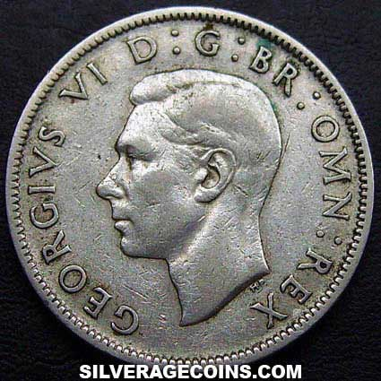 1943 George VI British Silver 2 Shillings