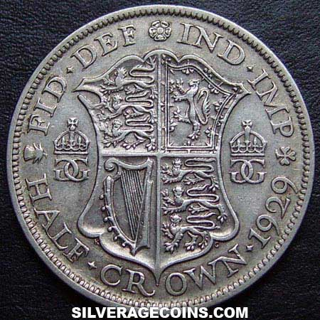 1929-1E George V British Silver Half Crown