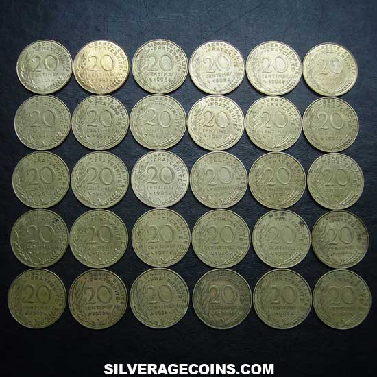 1962-2001 (30) Lot of 30 Different Dates French 10 New Cents
