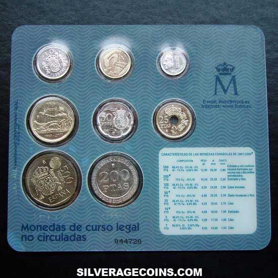 2000-2001 (8) Collection Last Legal Tender Pesetas Uncirculated Set
