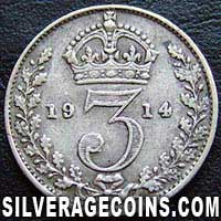 1914-2B George V British Silver Threepence