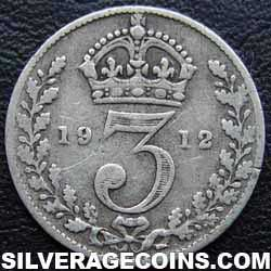1912 George V British Silver Threepence