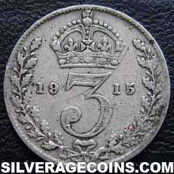 1915 George V British Silver Threepence