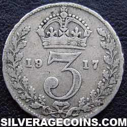 1917 George V British Silver Threepence