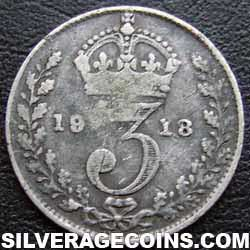 1918 George V British Silver Threepence