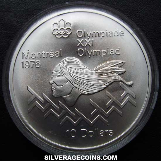 1975 Canadian Silver 10 Dollars Montreal Olympics