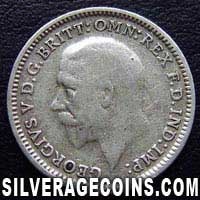 "1931 George V British Silver ""Oak Reverse"" Threepence"