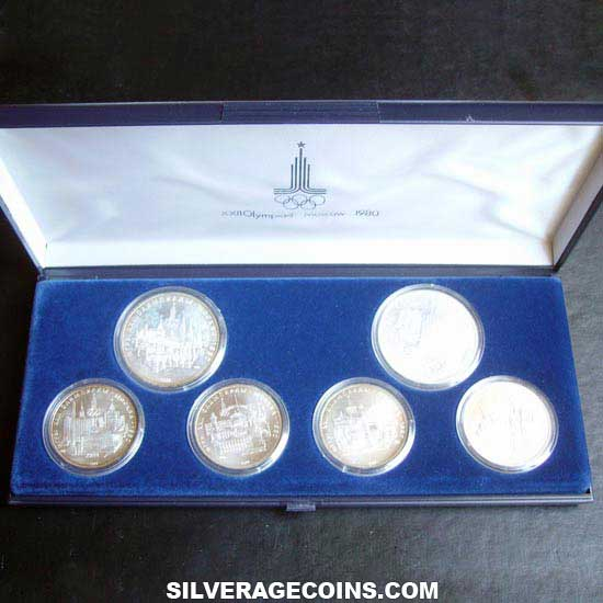 1977 (6) Russia XXII Summer Olympics Moscow 1980 Silver Box Set