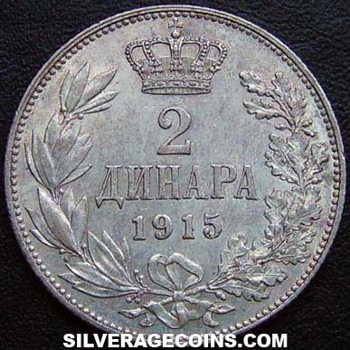 1915(a) Peter I Serbia Silver 2 Dinara (coin alignment, without designers name)