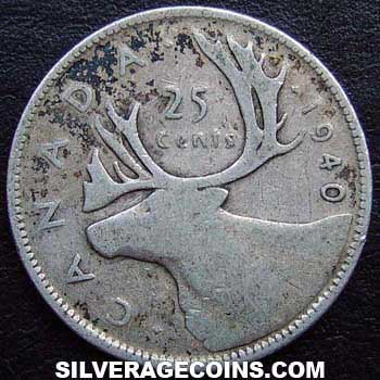 1940 George VI Canadian Silver 25 Cents