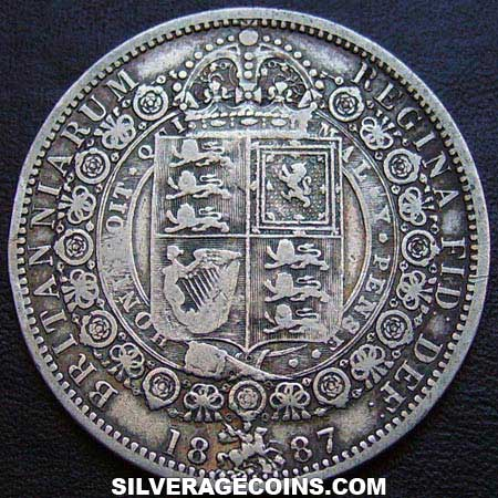 "1887 Queen Victoria British Silver ""Jubilee Head"" Half Crown"