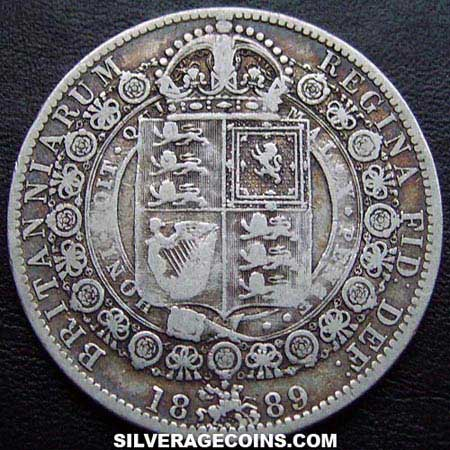 "1889 Queen Victoria British Silver ""Jubilee Head"" Half Crown"