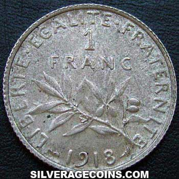 1918 French Silver Franc