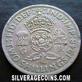 1948 George VI British 2 Shillings