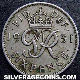 1951 George VI British Sixpence
