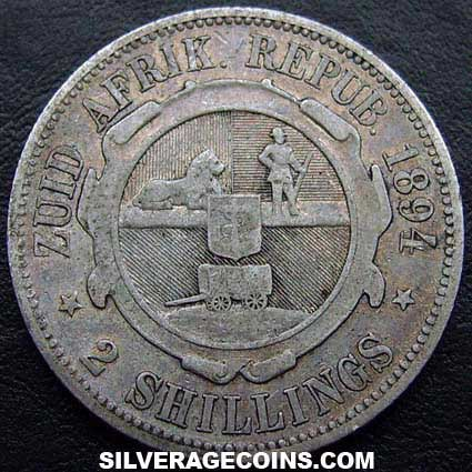 1894 South African ZAR Silver 2 Shillings