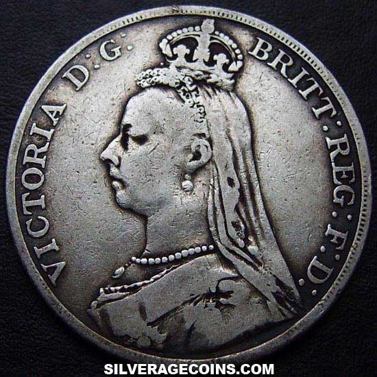 "1891 Queen Victoria British Silver ""Jubilee Head"" Crown"