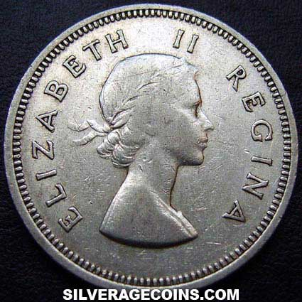 1959 Elizabeth II South African Silver 2 Shillings
