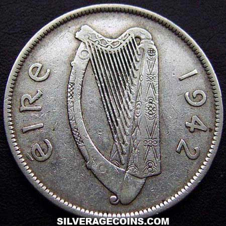 1942 Irish Silver Half Crown