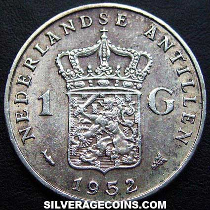 1952 Netherlands Antilles Juliana Silver Gulden