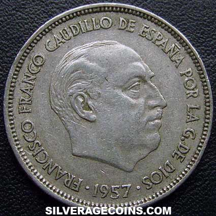 1957(64) Franco Spanish 25 Pesetas